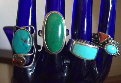 Lot Of 5 Silver Turquoise Malachite Amber Rings