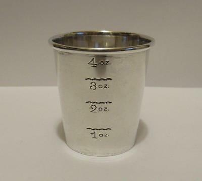 925 Solid Sterling Silver Bar Shot Measure Cup 4 oz. Capacity Newport Co 44.6 g.