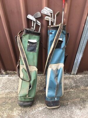 Vintage Collectable Bobby Locke Gold Clubs And Bags. 2 Sets. Double Bargain!