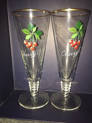 Vintage Retro Pair 2 Cherry B Brandy Flute Glasses Kitsch Cocktail Bar Glasses
