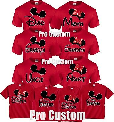 Mom And Dad Family Mickey Minnie Head Disney Birthday Customized RED T-Shirts