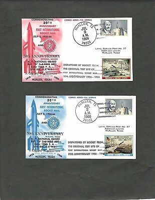 "United States (1966) 30Th Anniversary ""rocket Mail"" Red & Blue Covers"