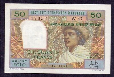 50 Francs From Madagascar French Colony Aunc