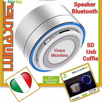 Speaker Bluetooth wireless portatile cassa altoparlante LED/MIC/USB /TF/MP3