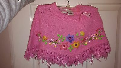 Flapdoodles toddler girls pink embroidered poncho size 2T NWT
