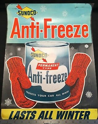 VINTAGE SUNOCO ANTI FREEZE LASTS ALL WINTER 14x18 STORE WINDOW CLING ADVERTISING