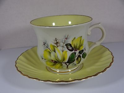 Vintage Yellow & Yellow Floral Old Foley James Kent Cup and Saucer Staffordshire