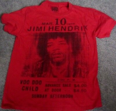 Vtg Look Jimi Hendrix Concert Poster T Shirt Red Medium Stone Free 100% Cotton