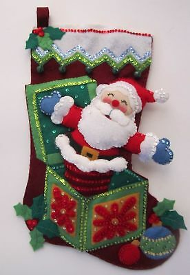 New Hand Stitched Bucilla Felt Sequined Pop-Up Santa Stocking