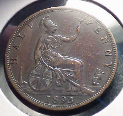 Great Britain 1/2 Penny 1893, Fine Coin, Queen Victoria Issue, KM 754