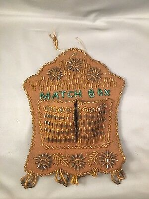 Antique IROQUOIS NATIVE AMERICAN BEADED WHIMSEY WALL MATCH HOLDER