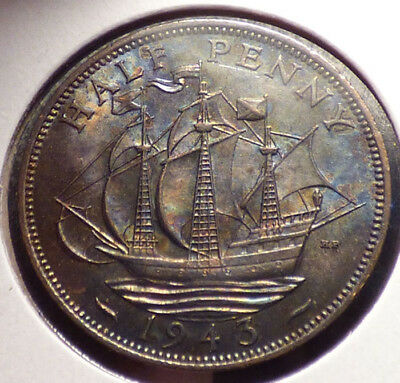 Great Britain 1/2 Penny 1943, XF Coin w/ Golden Hind, Tall Ship, Unusual Toning