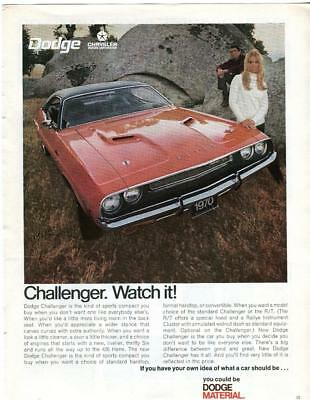 """1970 Dodge Red Charger And Sexy Woman In Photo Vintage Print Ad """"watch It"""""""