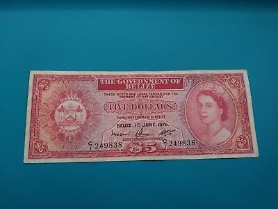1975 The Government of Belize Five Dollars Banknote.VF