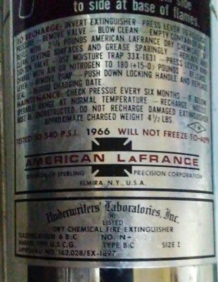 Vtg 1966 American LaFrance ALFCo Dry Chem Fire Extinguisher Chrome Rechargeable