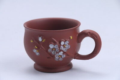 Exquisite Chinese Hand carving Yixing red stoneware cup aa654