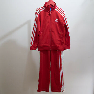ADIDAS Unisex Firebird Track Jacket & Pants Size XS Boys 5-6 Red & White 3stripe