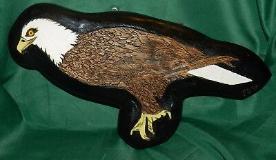 Estate Artist Signed and Dated Hand-Carved BALD EAGLE Millmont, Pa.