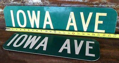 "(2) 6""x18"" 24"" Used ""IOWA AVE"" STREET TRAFFIC HIGHWAY ROAD ROUTE INTERSTATE SIGN"