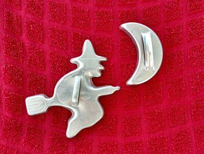Vintage Mirro Aluminum Witch on Broom  & Half 1/2 Moon Cookie Cutters Halloween