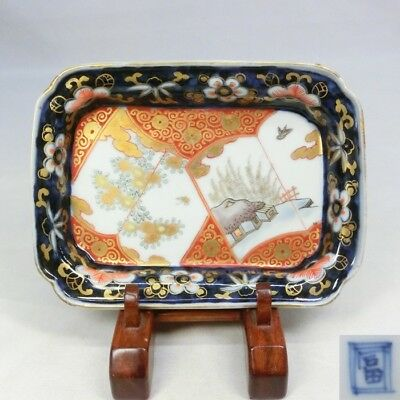 A132: Japanese OLD IMARI colored porcelain square plate with good painting