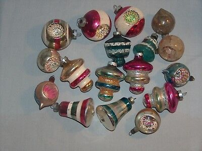 17 Vintage Lot of Glass Mercury Christmas Ornaments Shiny Brite Made in U.S.A.