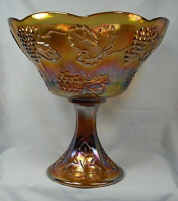 Harvest Grape Marigold Carnival Glass Compote Indiana Open Vintage (O)