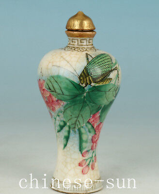 Nice Chinese Porcelain Handmade Painting Cricket Statue Snuff Bottle