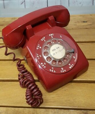 Bell System Vintage Red Rotary Dial Desk Telephone (Untested)
