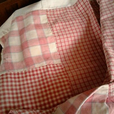 ANTIQUE FRENCH 1880 Patched Red KELSCH Homespun Linen Fabric Duvet Pillow Cover