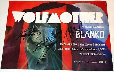 WOLFMOTHER Poster FULLY SIGNED Promo ANDREW STOCKDALE Ian Peres & Alex AUTOGRAPH