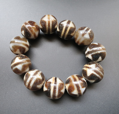Antique PURE FENG SHUI Tibetan Old Agate Tiger-Tooth dZi Bead Bracelet A45
