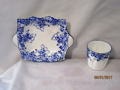 Shelley  Dainty Blue Candy Dish And Tooth Pick Holder