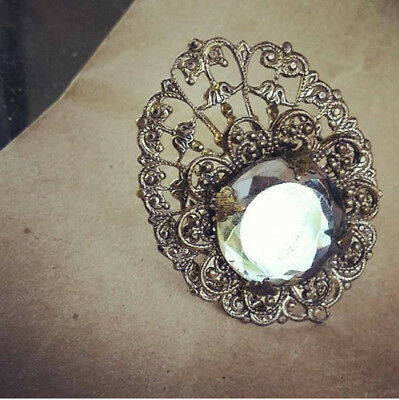 Vintage Art Deco Brass Filigree and Vauxhall Glass Ring Adjustable Statement Rin