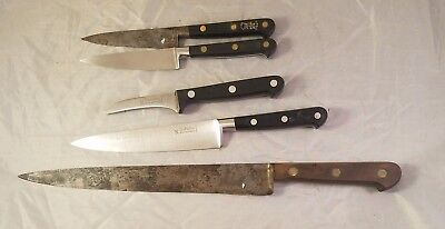 Vintage Sabatier Chefs Knife Lot x5 Cutlery France - Paring, Chef, Slicing