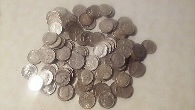 90% Silver Dimes -2 Rolls of 50  each- 100 total . roosevelt