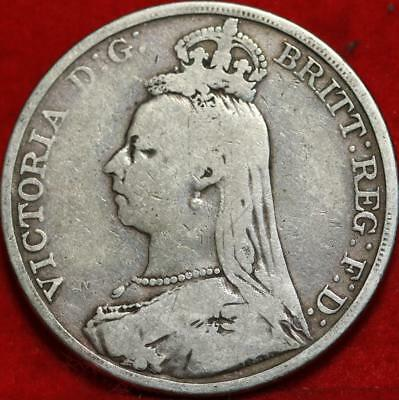 1889 Great Britain Crown Silver Foreign Coin Free S/H