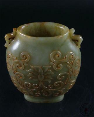 Old Chinese Celadon Nephrite Jade Carved Bottle Vase Statue FLOWERS ON SURFACE