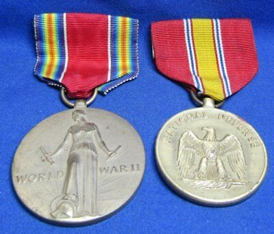 WWII Freedom Victory & National Defense Medals and Ribbons Lot Of 2
