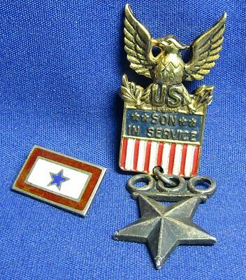 WWII Sterling Brigadier General Son In Service Home Front Pins Lot Of 2