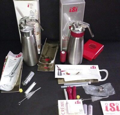 2 iSi Stainless Steel Gourmet  Profi - Whip With Supplies and Co2 Cream Chargers