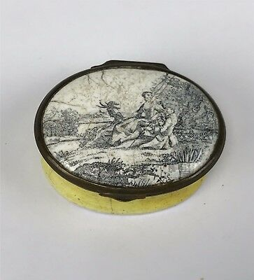 Antique 18th-19thC Battersea Bilston Enamel Patch Box Black Wht Courting Couple