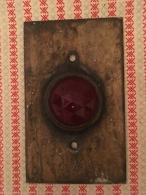 Vintage Brass Jeweled Red Glass Lens Switch Plate Cover Indicator Light