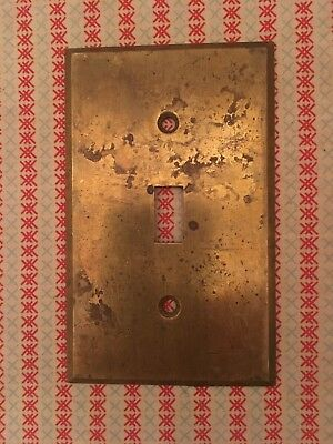 Vintage Original CEMCO Push Light Button Brass Switch Cover Plate Odd Hole Size