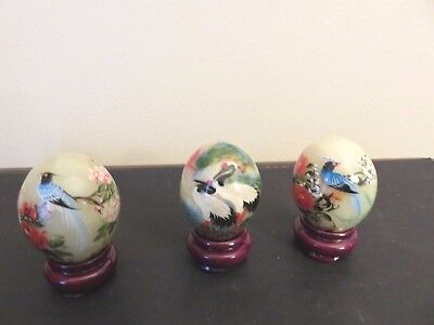 """Vintage Small Marble Eggs Hand Painted w/ Birds & Flowers on Stands 1 1/4"""" Tall"""