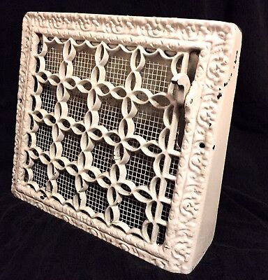 "Antique Vtg CAST IRON WALL HEAT GRATE REGISTER VENT VICTORIAN 14"" x 12.5"" Ornate"