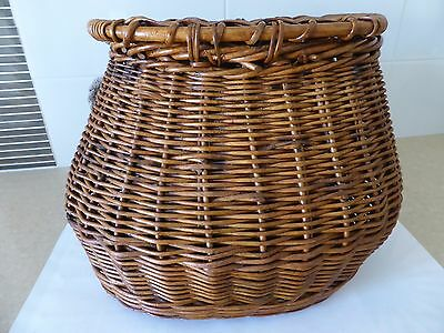 Vintage Cane Wicker Fishing basket creel Antique solid & sturdy