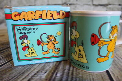 Vintage Garfield Horoscope Sagittarius Coffee Mug Comics Jim Davis, Tea Cup