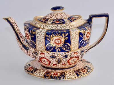 Striking Vintage English IMARI Tea Pot and Trivet/Stand : 1.2L, Pattern 0.852