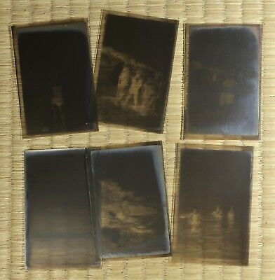 Antique Film Negative / Japanese / People at the Beach / Set of 6 / c. 1930s